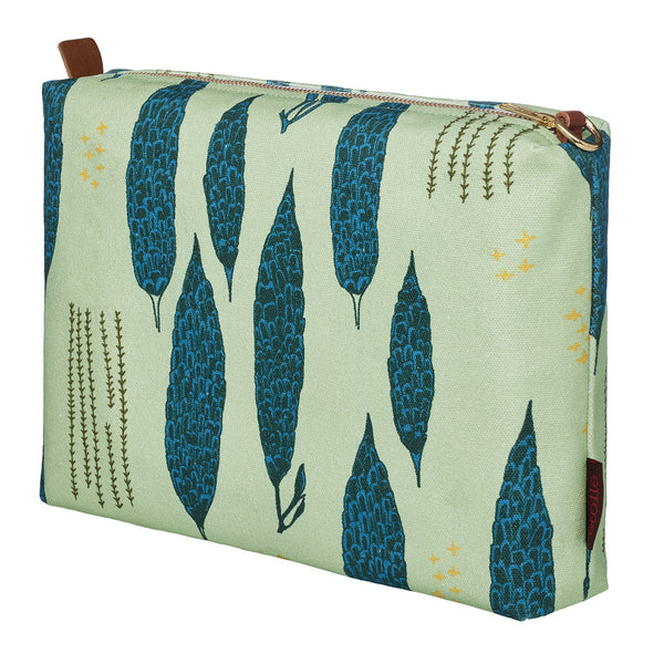 Graphic Tree Pattern Cotton Canvas Vanity Bag in Eau de Nil Green