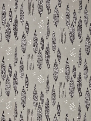 Graphic Rosemary Sprig Pattern Printed Linen Cotton Canvas Fabric in Light Dove Grey and Black
