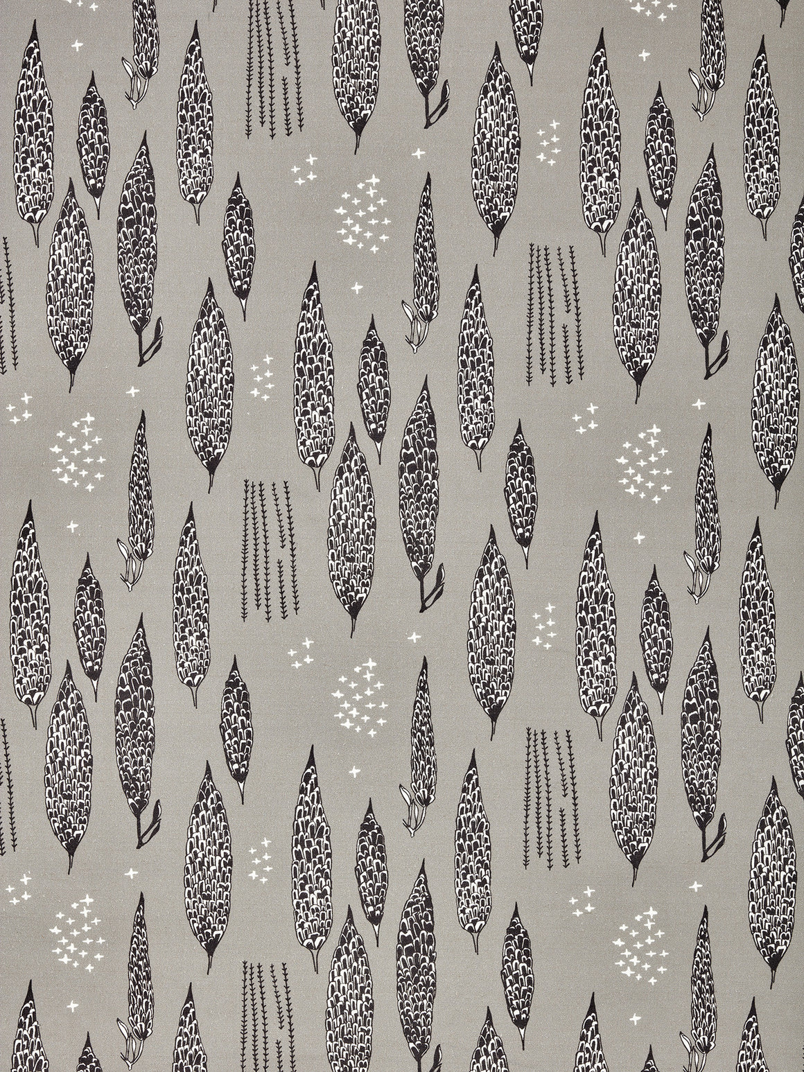 Graphic Rosemary Sprig Pattern Printed Linen Cotton Canvas Home Decor Home Decor Fabric in Light Dove Grey and Black for curtain, blinds or upholstery ships from Canada (USA)