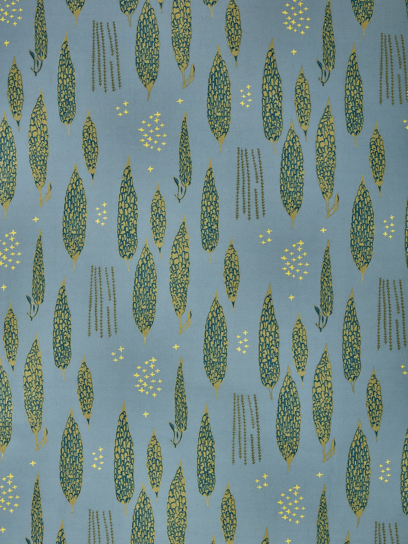Graphic Rosemary Sprig Pattern Printed Linen Cotton Canvas Fabric in Light Winter Blue, Antique Moss Green and Dark Petrol Blue