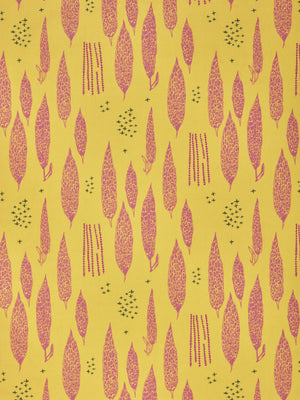 Graphic Rosemary Sprig Pattern Printed Linen Cotton Canvas Fabric in Bright Mustard Yellow and Coral Pink