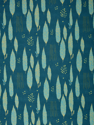 Graphic Rosemary Sprig Pattern Printed Linen Cotton Canvas Home Decor Fabric by meter or yard in Dark Petrol Blue, Antique Moss Green and Turquoise curtains, blinds or upholstery ships from Canada (USA)