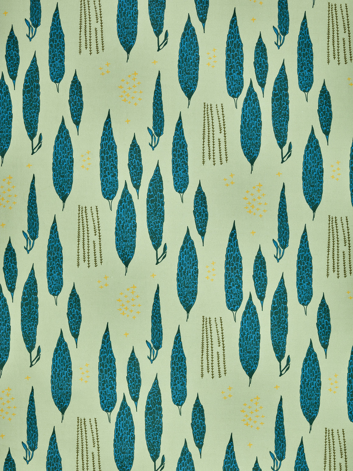 Graphic Rosemary Sprig Pattern Printed Linen Cotton Canvas Fabric in Light Eau de Nil Green and Turquoise Blue