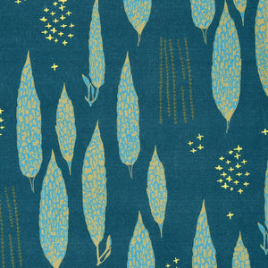 Graphic Rosemary Sprig Pattern Printed Linen Cotton Canvas Fabric in Dark Petrol Blue, Antique Moss Green and Turquoise