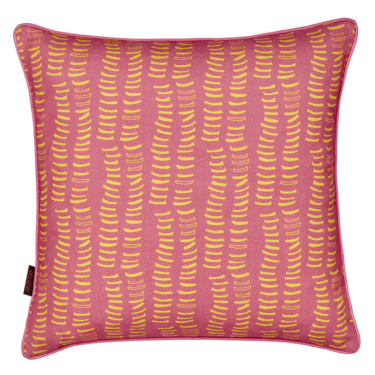 Graphic Rib Pattern Linen Union Printed Cushion in Coral Pink and Mustard Yellow