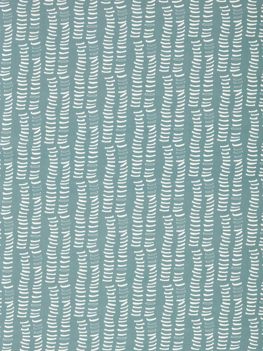 Graphic Adam's Rib Pattern Screen Printed Linen Cotton Canvas Fabric in Light Chambray Blue and White