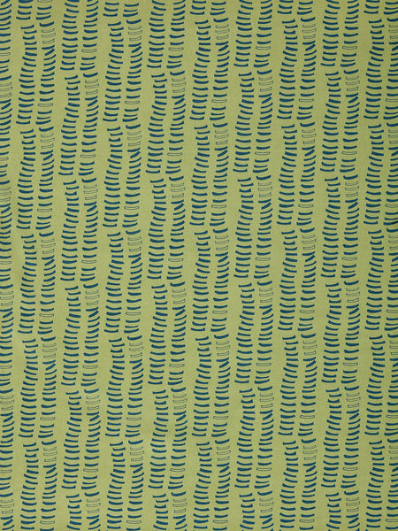 Graphic Rib Pattern Pattern Screen Printed Linen Cotton Canvas Fabric in Antique Moss Green and Dark Petrol Blue