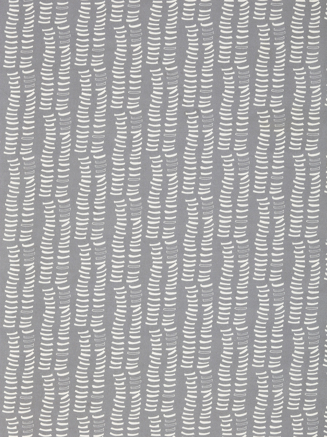 Graphic Adam's Rib Pattern Screen Printed Linen Cotton Canvas Fabric in Light Dove Grey & White