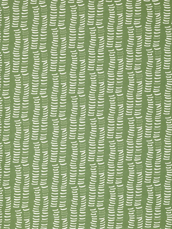 Graphic Rib Pattern Pattern Screen Printed Linen Cotton Canvas Fabric in Light Avocado Green and White