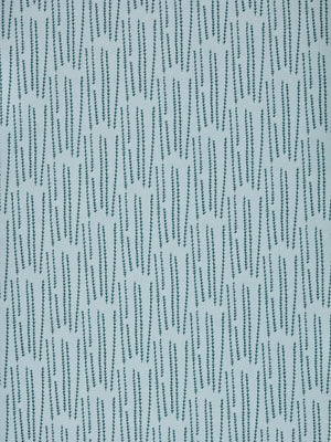 Graphic Rosemary Sprig Pattern Printed Linen Cotton Canvas Fabric in Pale Winter Blue and Dark Petrol Blue