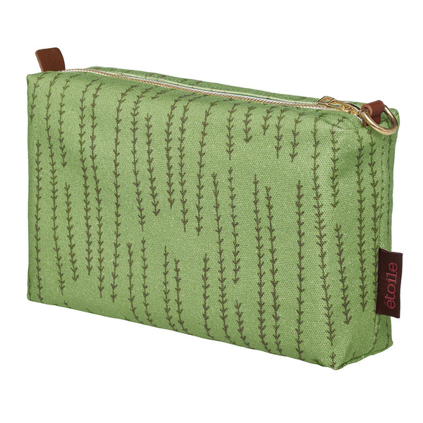 Graphic Rosemary Sprig Pattern Printed Cotton Canvas Wash Bag in Avocado Green & Olive Green