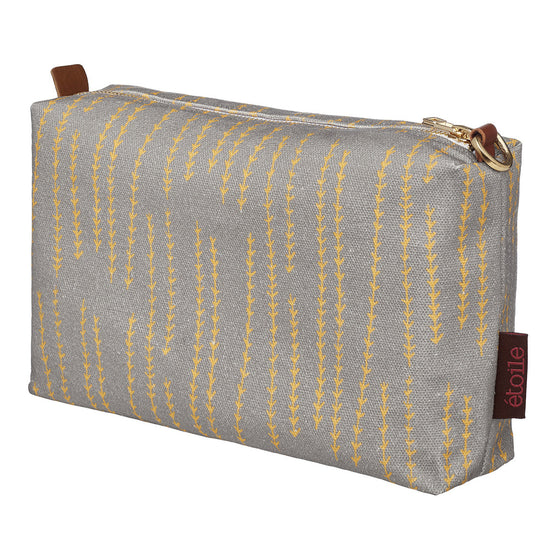 Graphic Rosemary Sprig Pattern Printed Cotton Canvas Wash Bag in Dove Grey and Saffron yellow