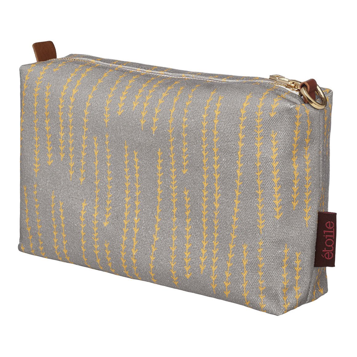 Graphic Rosemary Sprig Pattern Printed Cotton Canvas Toiletry Travel or Wash Bag in Dove Grey and Saffron yellow Ships from Canada (USA) prefect for all your beauty and cosmetic needs while travelling