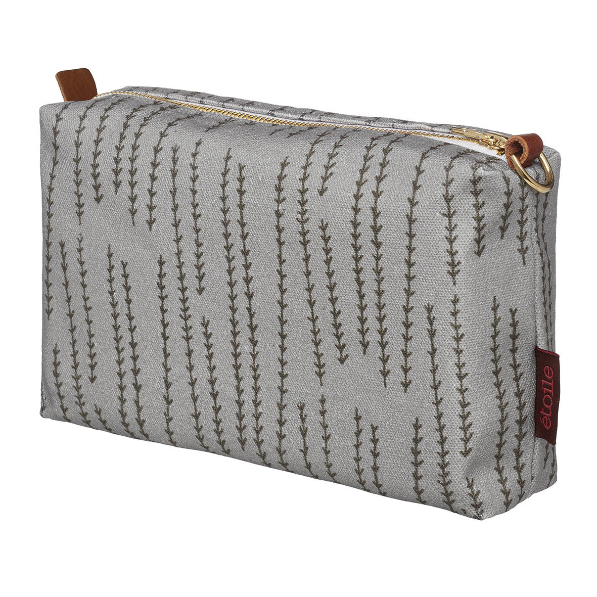 Graphic Rosemary Sprig Pattern Printed Cotton Canvas Wash Bag in Dove Grey with Stone Grey