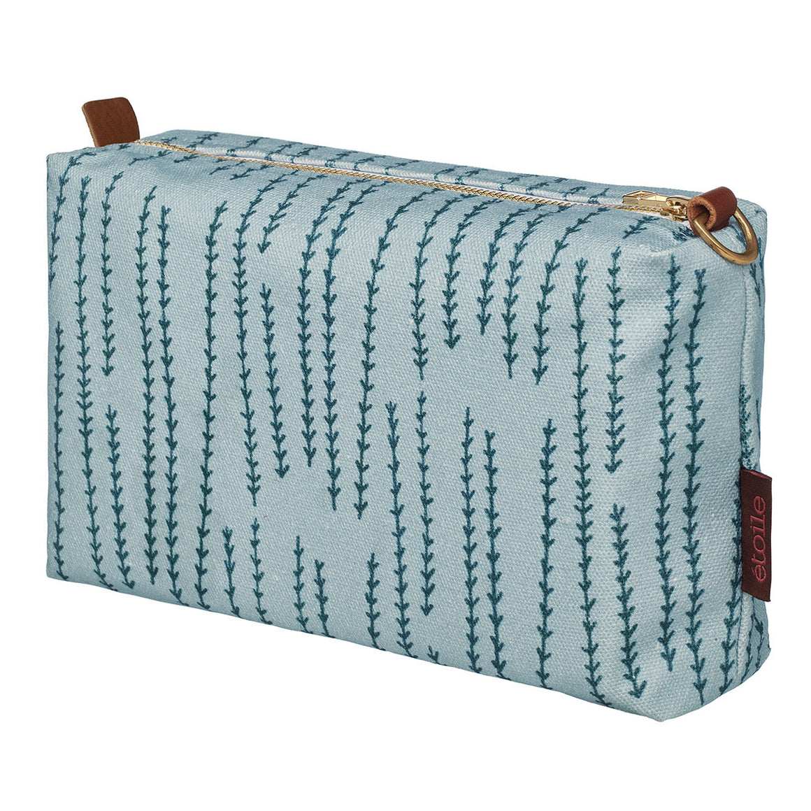 Graphic Rosemary Sprig Pattern Printed Cotton Canvas Wash Bag in Winter Blue & Petrol Blue