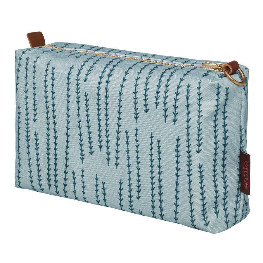 Graphic Rosemary Sprig Pattern Printed Cotton Canvas Toiletry Travel or Wash Bag in Winter Blue & Petrol Blue Perfect for all your cosmetic and beauty needs while travelling Ships from Canada (USA)
