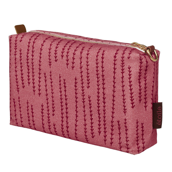 Graphic Rosemary Sprig Pattern Printed Cotton Canvas Wash Bag in Coral Pink and Vermilion Red