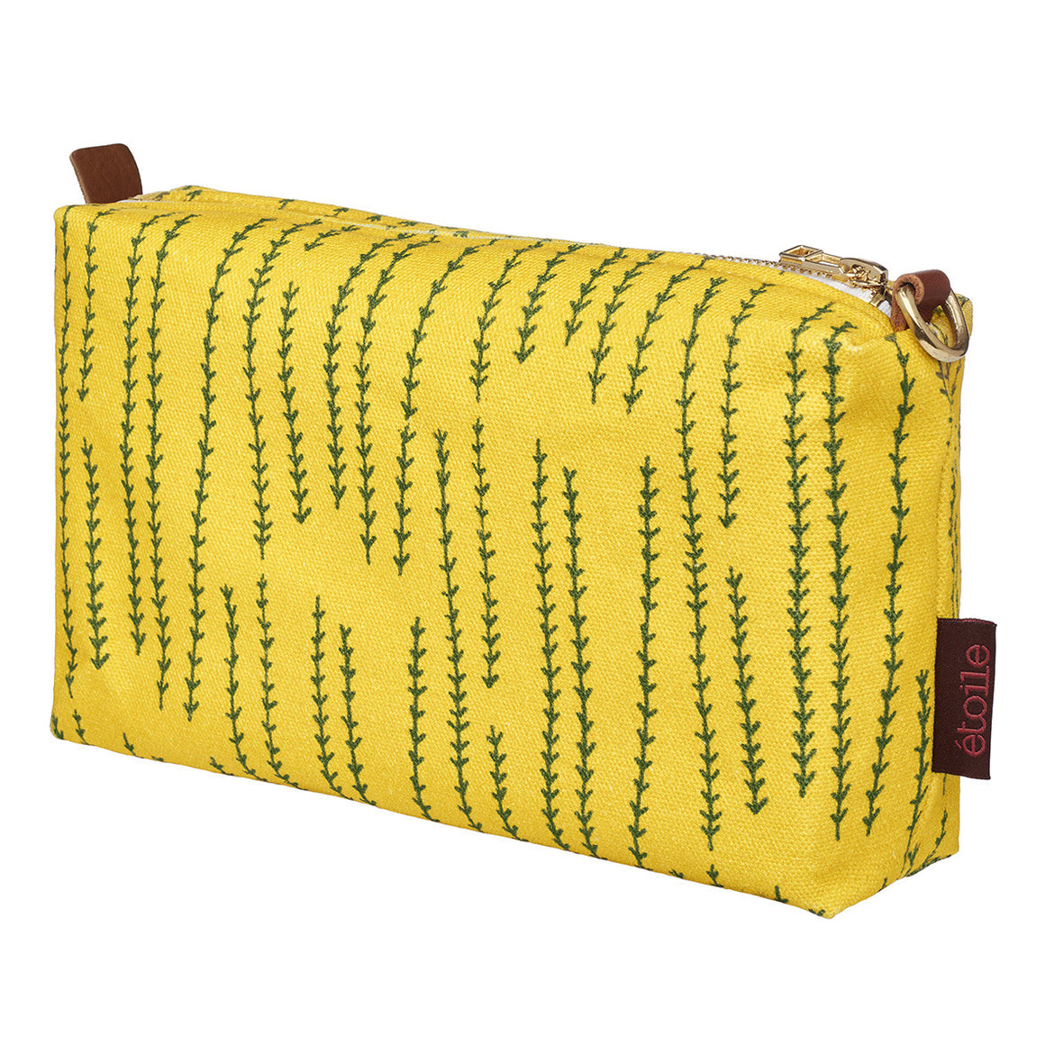Graphic Rosemary Sprig Pattern Printed Cotton Canvas Wash Bag in Mustard Yellow and Olive Green