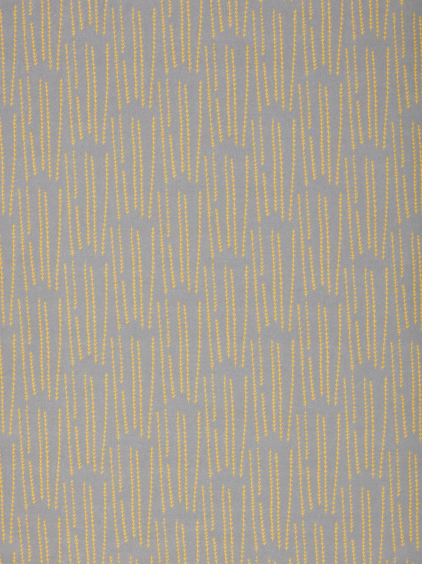 Graphic Rosemary Sprig Pattern Printed Linen Cotton Canvas Fabric in Light Dove Grey & Bright Saffron Yellow