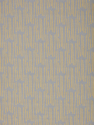 Graphic Rosemary Sprig Pattern Printed Linen Cotton Canvas Home Decor Fabric by the meter or yard for curtains, blind, or upholstery in Light Dove Grey & Bright Saffron Yellow ships from Canada (USA)