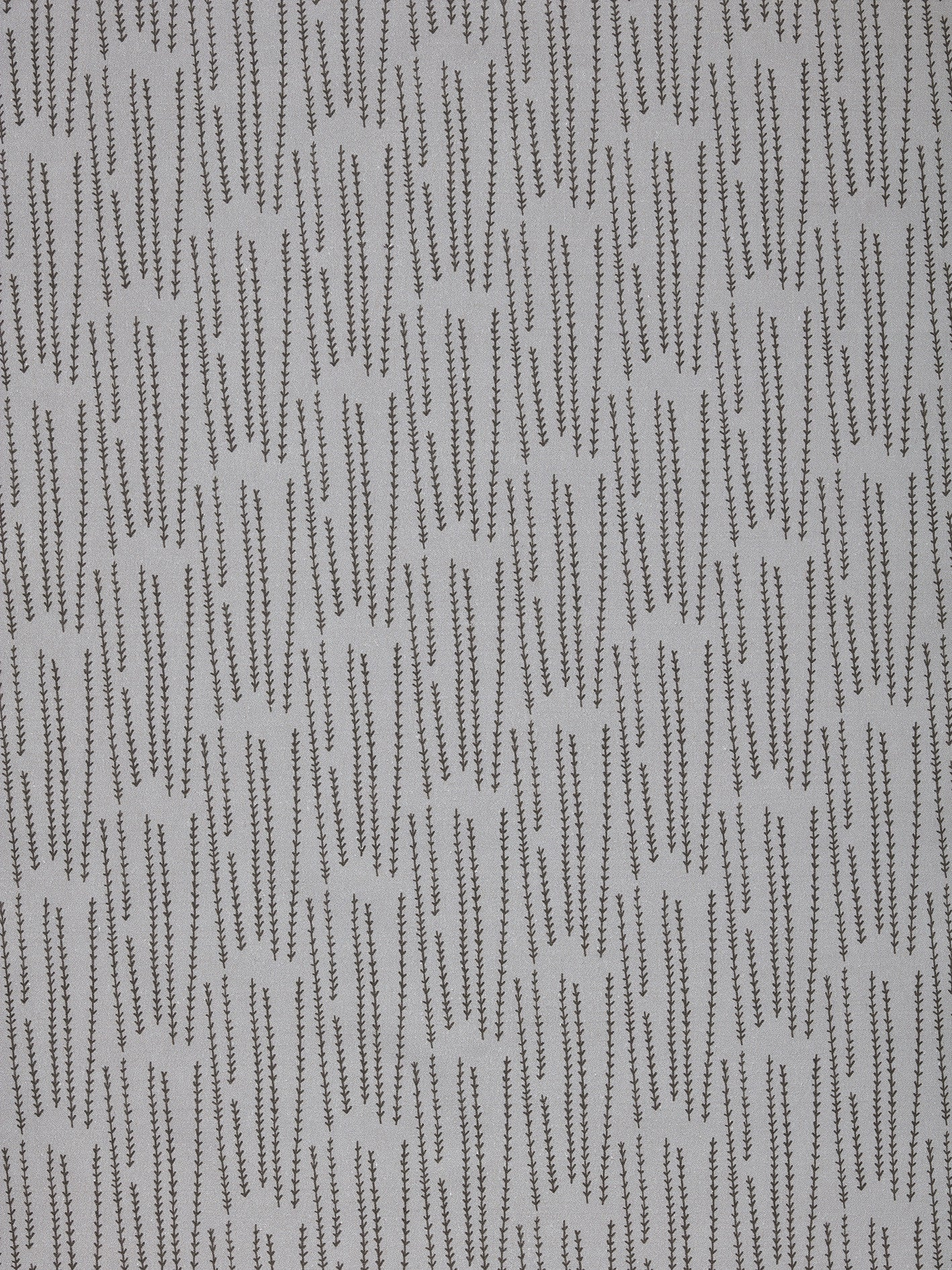 Graphic Rosemary Sprig Pattern Printed Linen Cotton Canvas Fabric in Light Dove Grey & Dark Stone Grey