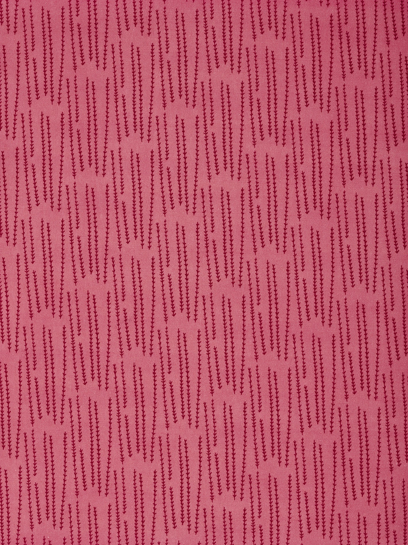 Graphic Rosemary Sprig Pattern Printed Linen Cotton Canvas Fabric in Bright Coral Pink & Vermilion Red