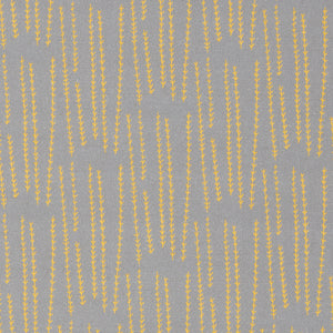 Graphic Rosemary Sprig Pattern Printed Linen Cotton Canvas Home Decor Fabric by the meter or yard for curtain, blind or upholstery in Light Dove Grey & Bright Saffron Yellow ships from Canada (USA)