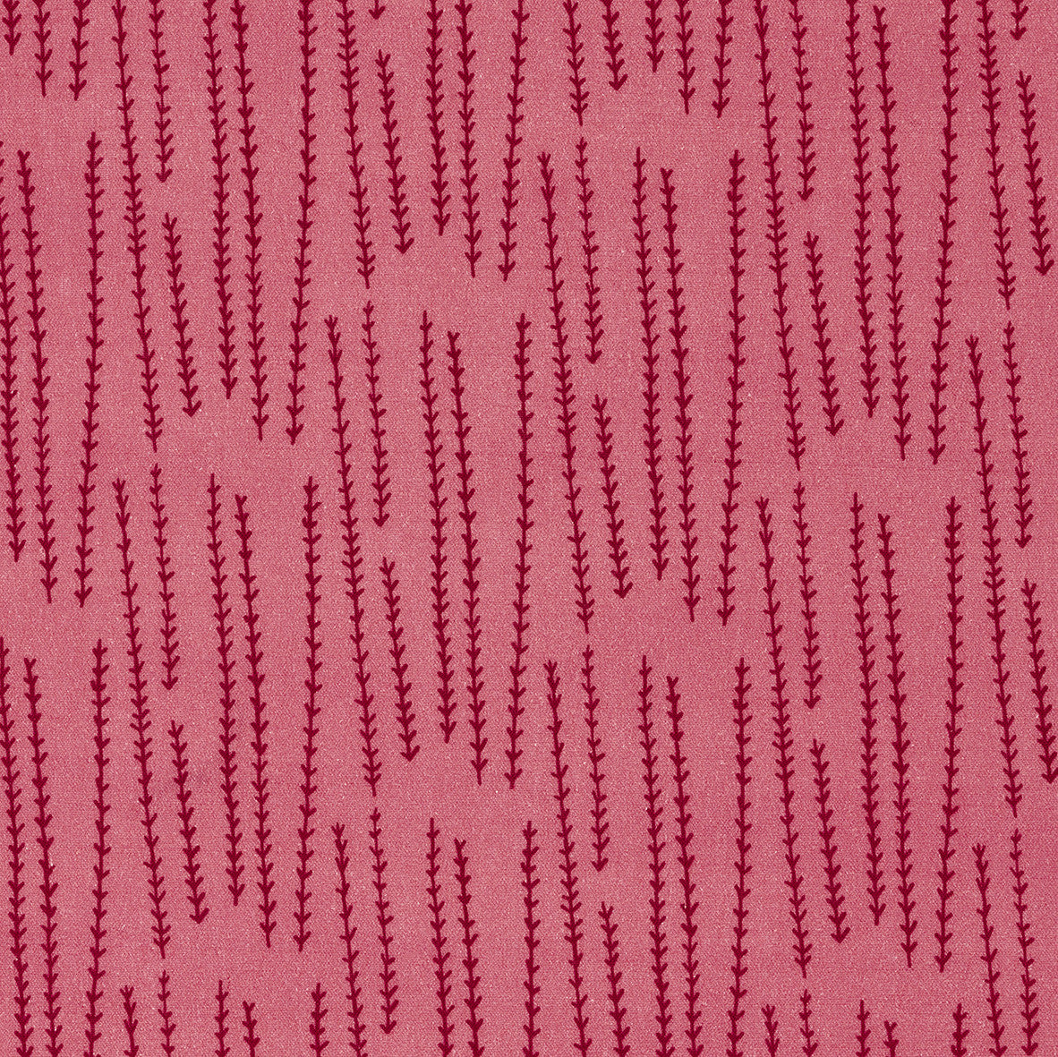 Graphic Rosemary Sprig Pattern Printed Linen Cotton Canvas Home Decor Fabric by the yard or meter for curtains, blinds or upholstery in Bright Coral Pink & Vermilion Red ships from Canada (USA)