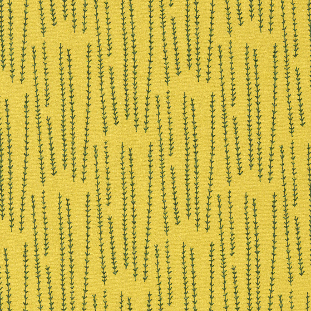 Graphic Rosemary Sprig Pattern Printed Linen Cotton Canvas Home Decor Fabric by meter or yard for curtains, blinds or upholstery in Bright Mustard Yellow  & Dark Olive Green ships from Canada (USA)