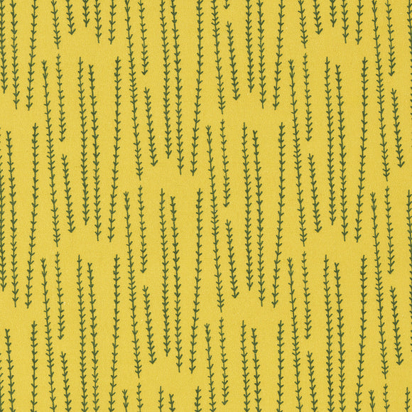 Graphic Rosemary Sprig Pattern Printed Linen Cotton Canvas Fabric in Bright Mustard Yellow  & Dark Olive Green