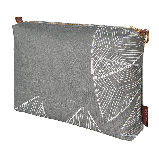 Sail pattern canvas vanity or toiletry bag in light dove grey ships from Canada worldwide including the USA