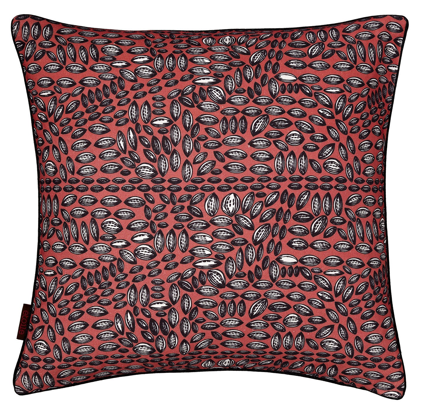 Graphic Cocoa Seed Pattern Linen Cotton Cushion in Coral Pink