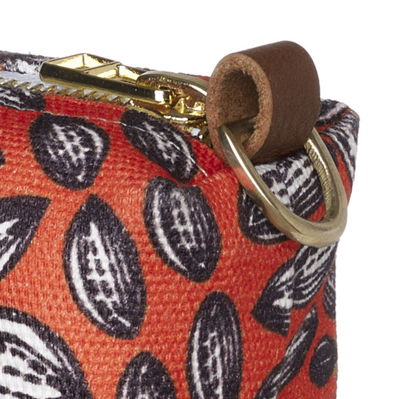 Graphic Cocoa Seed Pattern Canvas Wash (toiletry) Bag in Bright Pumpkin Orange
