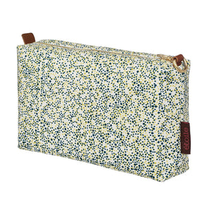 Multicolour Spot Pattern Printed Cotton Canvas Wash Bag in Chartreuse Yellow and Dark Petrol Blue