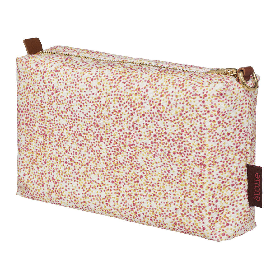 Multicolour Spot Polka Dot Pattern Printed Cotton Canvas Wash Bag in Coral Pink & Mustard Yellow