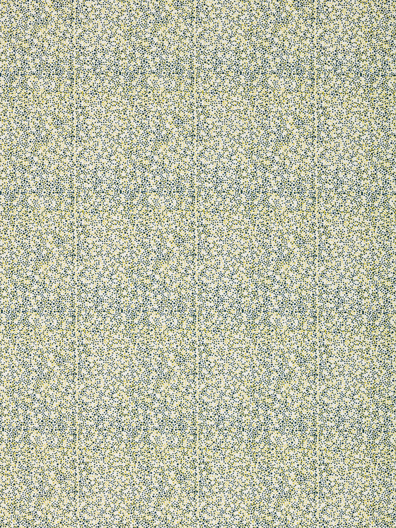 Multicolour Spots Pattern Printed Linen Cotton Canvas Fabric in Dark Petrol Blue and Bright Chartreuse Yellow