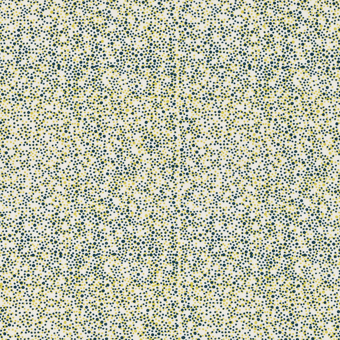 Multicolour Spots Pattern Printed Linen Cotton Canvas Home Decor Interiors Fabric by the meter or yard for curtains, blinds or upholstery in Dark Petrol Blue and Bright Chartreuse Yellow ships from Canada (USA)