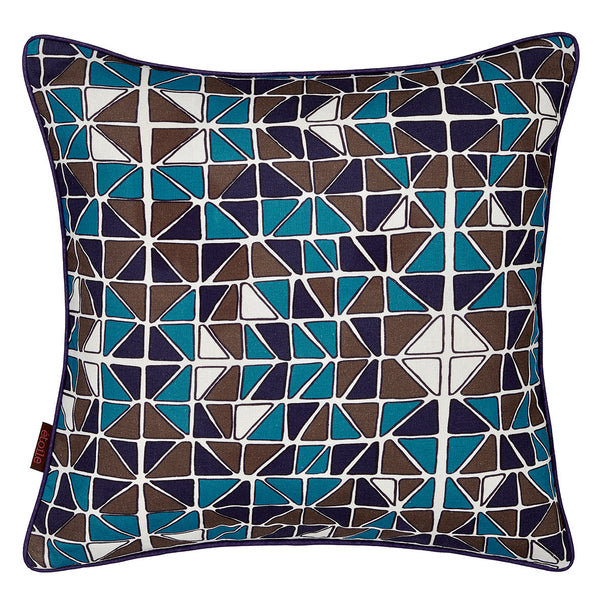 Mosaic Patterned Linen Union Printed Cushion in Turquoise Blue, Aubergine Purple and Stone Grey