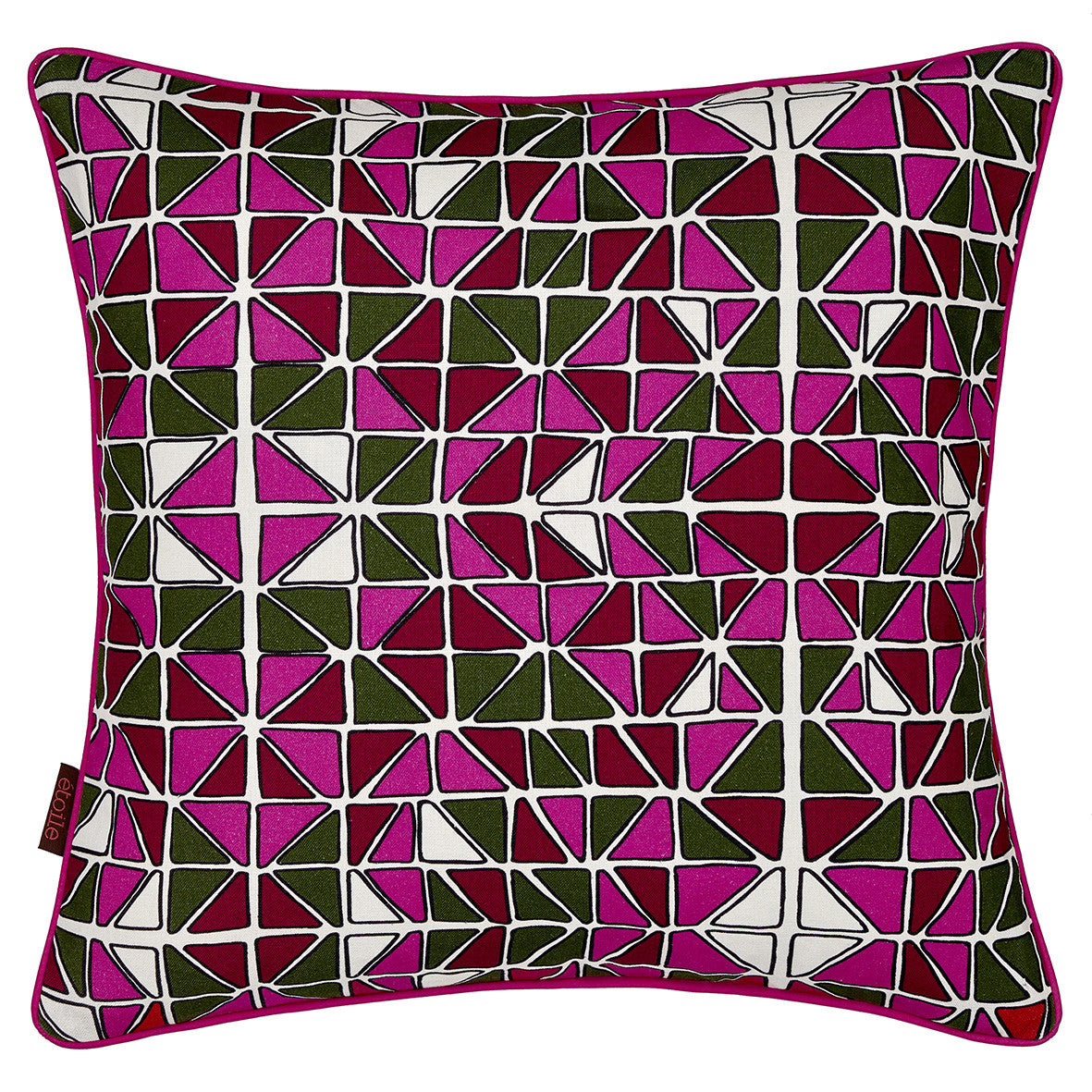 Mosaic Patterned Printed Linen Union Cushion in Fuchsia Pink, Olive Green and Vermilion Red