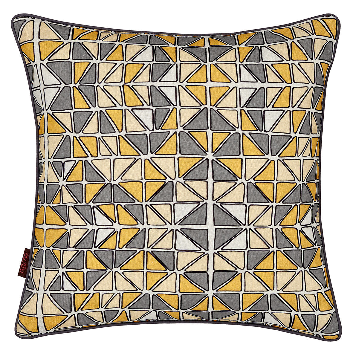 Mosaic Patterned Printed Linen Union Cushion in Maize Yellow, Grey and Straw
