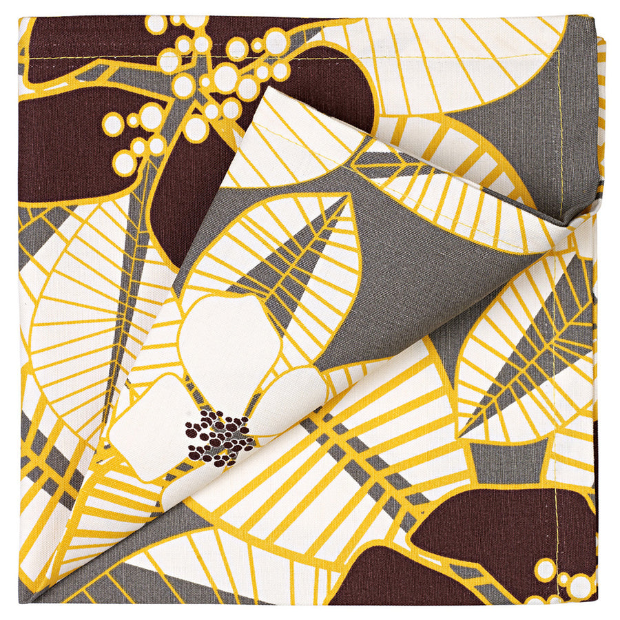 Tiki Tropical Floral Napkin in Stone Grey with yellow, brown and white