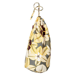 Tiki Tropical Floral Pattern Printed Cotton Linen Drawstring Laundry & Storage Bag - Stone Grey, yellow, chocolate and white - Ships from Canada (USA)