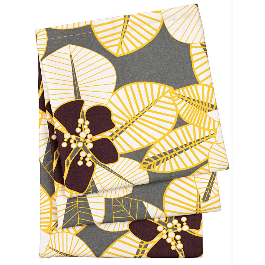 Tiki Tropical Floral Pattern Cotton Linen Tablecloth in Grey, Yellow and Brown Made in Canada
