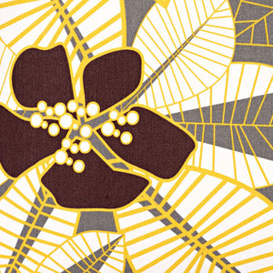 Tiki Graphic Floral Pattern Cotton Linen Fabric by the Meter in Stone Grey, Yellow & Brown