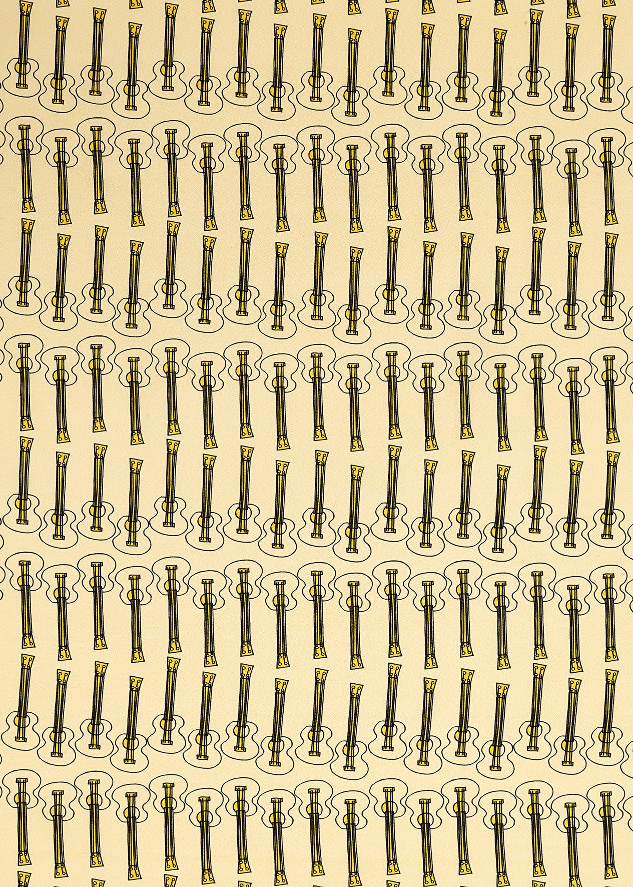 Ukelele Guitar Pattern Cotton Linen Home Decor Interiors Fabric by the Meter or yard in Pale Straw Yellow for curtains, blinds or upholstery ships from Canada (USA)