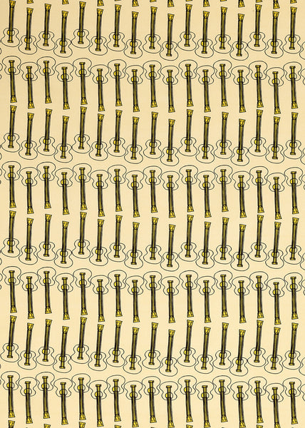 Ukelele Guitar Pattern Cotton Linen Fabric by the Meter in Pale Straw Yellow