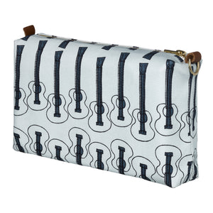 Ukulele Guitar Pattern Canvas Wash (toiletry) Bag in Light Celeste Blue