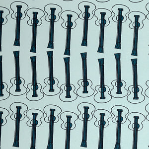 Ukelele Guitar Pattern Cotton Linen Fabric by the Meter in Light Celeste Blue