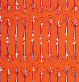Ukelele Guitar Pattern Cotton Linen Fabric by the Meter in Bright Pumpkin Orange