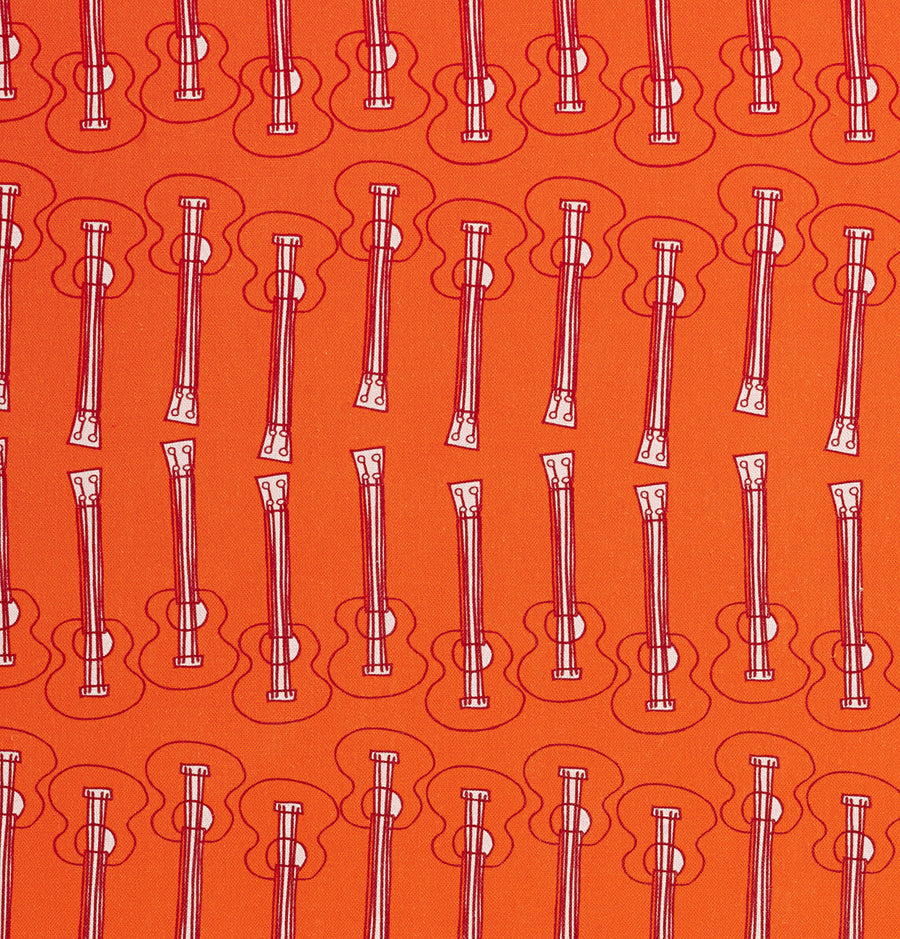 Ukelele Guitar Pattern Cotton Linen Home Decor Interiors Fabric by the Meter or yard for curtains, blinds or upholstery in Bright Pumpkin Orange ships from Canada (USA)